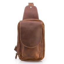 Genuine Leather Messenger Men Mini Back Pack Chest Bag Men's Shoulder Crossbody Bag Pack Male Vintage Handbag Travel Casual Tote цены