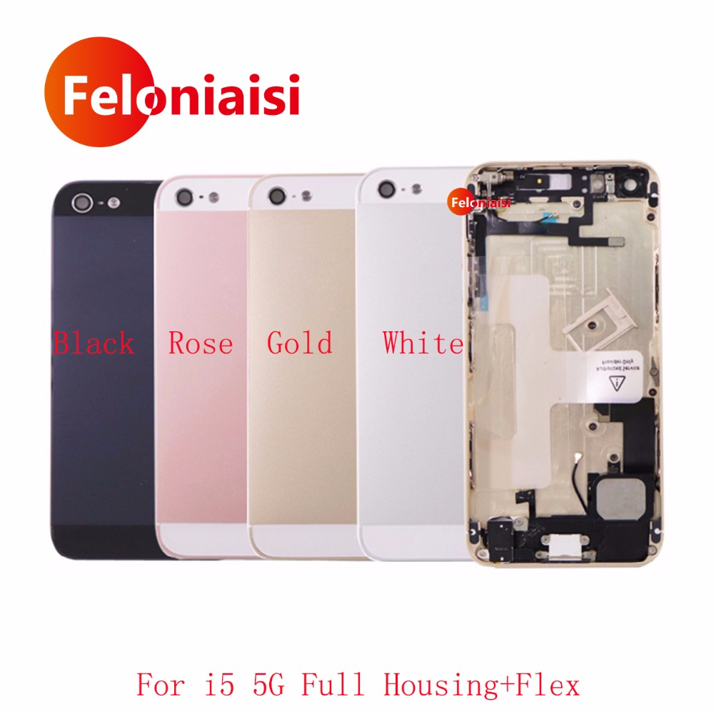 AAA For IPhone 5 5G 5S SE Back Middle Frame Chassis Full Housing Rear Cover Battery Door With Flex Cable Assembly