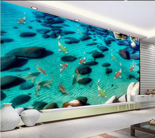 ФОТО customize 3d flooring wallpaper stereoscopic 3d floor murals water Sand and stones Waterproof flooring wallpaper for bathroom