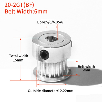 3D Printer Parts Accessory GT2 20Teeth Bore 4/5/6/6.35/8mm 2GT Timing Alumium Pulley Fit for GT2-6/10mm Open Synchronous Belt 80 teeth 2gt timing pulley bore 6 35 8 10 12 14 15 16 19 20mm for gt2 open synchronous belt width 6 10mm 80teeth 80t