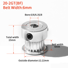 3D Printer Parts Accessory GT2 20Teeth Bore 5/6/6.35/8mm 20 teeth 2GT Timing Alumium Pulley Fit for GT2-6mm Open Timing Belt gt2 2pcs 20 teeth bore 5 8 mm pulley with 2m pu with steel gt2 6mm open timing belt 2gt timing belt 6mm width for 3d printer