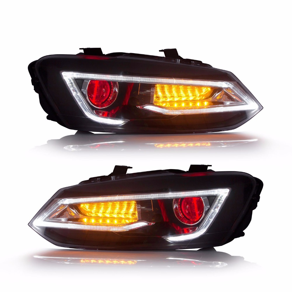 Vland Car Styling Headlights For VW Polo mk5 Headlight 2011-2017 New Style With Demon Eyes Head Lamp 2pcs purple blue red green led demon eyes for bixenon projector lens hella5 q5 2 5inch and 3 0inch headlight angel devil demon