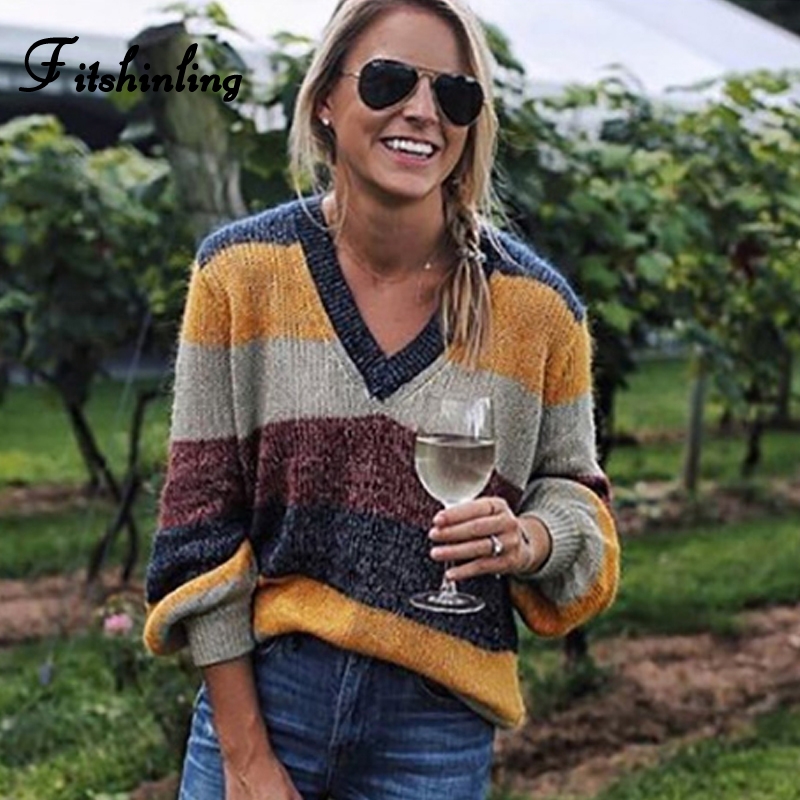 Fitshinling Multi Color Striped V Neck Sweater Women Clothing Fashion 2018 Winter Sweaters And Pullovers Knitwear Jumpers Sale