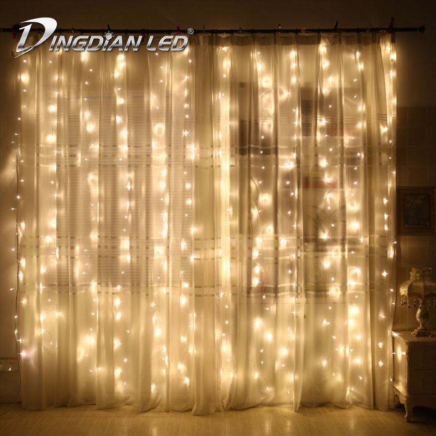 Twinkle Star 300LED Window Curtain String Light Warm White Wedding Party Outdoor Garden Indoor Bedroom Wall Decor Fairy Lights