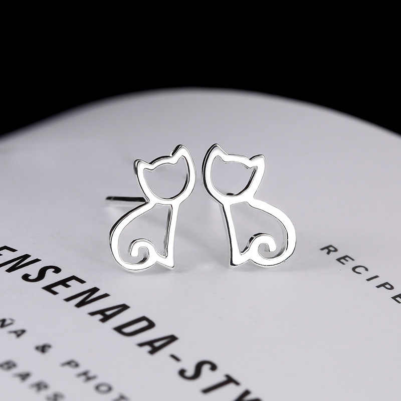 Kualitas Tinggi 100% 925 Sterling Silver Anting-Anting Fashion Cute Cat Stud Anting-Anting Hadiah untuk Wanita Sterling Perak perhiasan