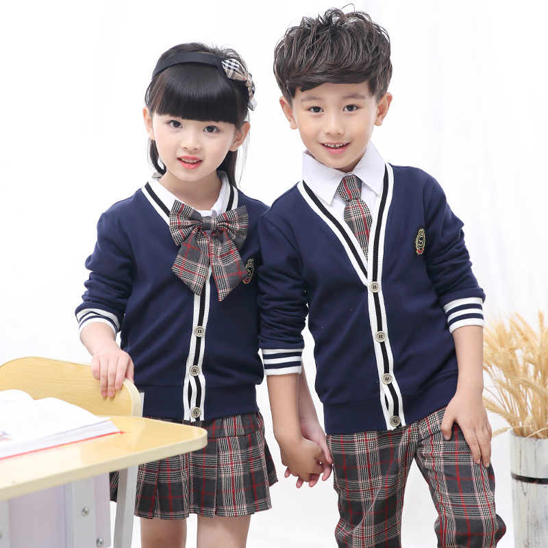 2018 Tops Children Student School Uniforms Set Suit V-neck Girls Boys Cotton Sweater Shirt Skirt Pants Tie Set Uniforms 2-10T