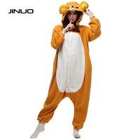 JINUO Panda Teddy Care Bear Pajamas Costume Women Footed Polar Jumpsuit Bear Onesie Suit Pajamas Adult