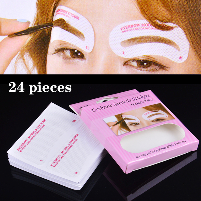 24 Pcs Non Wovens Eyebrow Stencil Set Eye Brow DIY Drawing Guide Styling Shaping Grooming Template Card Easy Makeup Beauty Kit