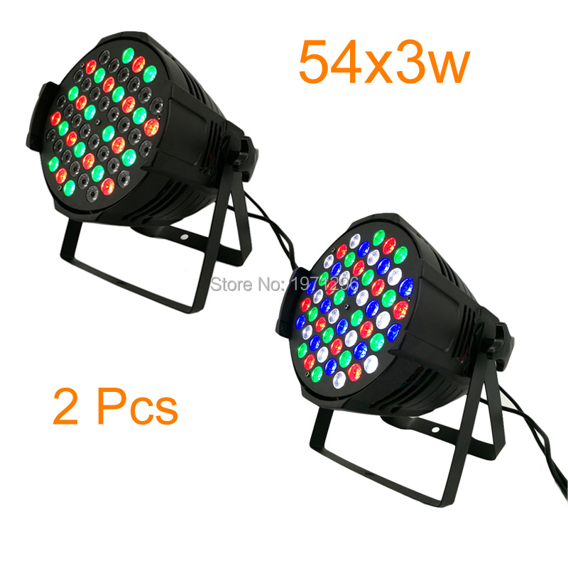 ФОТО 2pcs/lot Hot Sale 2017 New LED Par Can 54 x 3W RGBW 180W Color With 8 Channels Double Hanging Brackets
