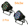 2pcs/lot Hot Sale 2017 New LED Par Can 54 x 3W RGBW 180W Color With 8 Channels Double Hanging Brackets