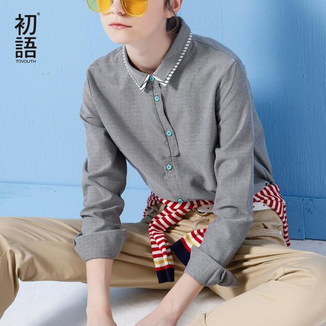 Toyouth Осенью Новый Сплошной Цвет Женщины Офиса Рубашки Дамы OL Базовая Топ Blusas Блузка Рубашка Профессиональной деятельности