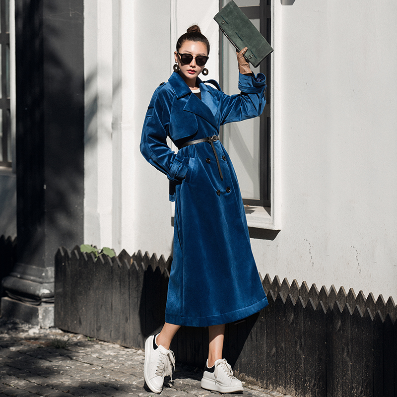 VERRAGEE vintage green blue solid color 2019 new women velvet long Autumn Winter double-breasted retro loose solid   trench   coat