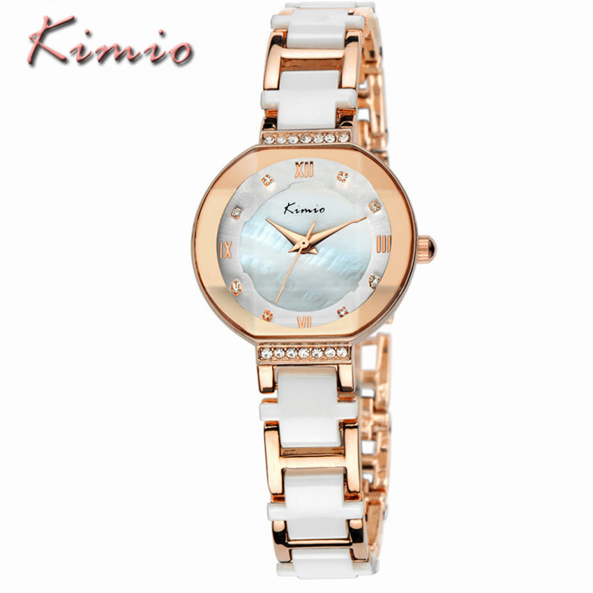 KIMIO Luxury Women Bracelet Watches Fashion Dress Big Dial Ceramics Watches Ladies Imitation Quartz Watch Relogio Feminino Clock brand kimio reloj mujer fashion women pearl bracelet watches crystal dial quartz watch gold women watches relogio feminino clock
