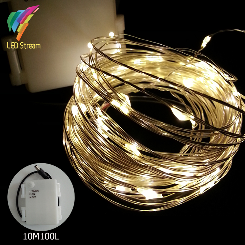 10m 100 Led 3aa Battery Ed Outdoor Timer Silver Color Copper Wire Fairy String Lights
