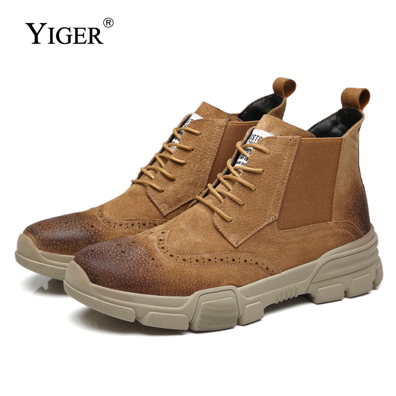YIGER NEW Men Martins Boots Male Ankle Boots Casual Cowboy Boots Cow Suede Lace-up Men Chelsea Boots Winter Warm With Fur   0154