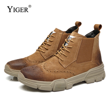 YIGER NEW Men martins Boots Male Ankle boots Casual cowboy Cow Suede Lace-up Chelsea winter warm with fur  0154