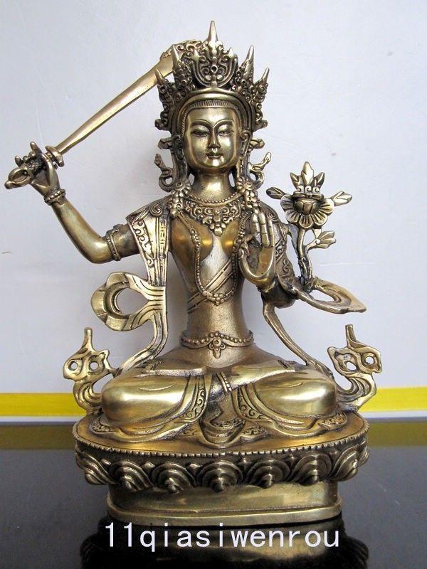 Collectibles Tibetan Buddhist bronze MANJUSHRI buddha statue metal handicraft statue