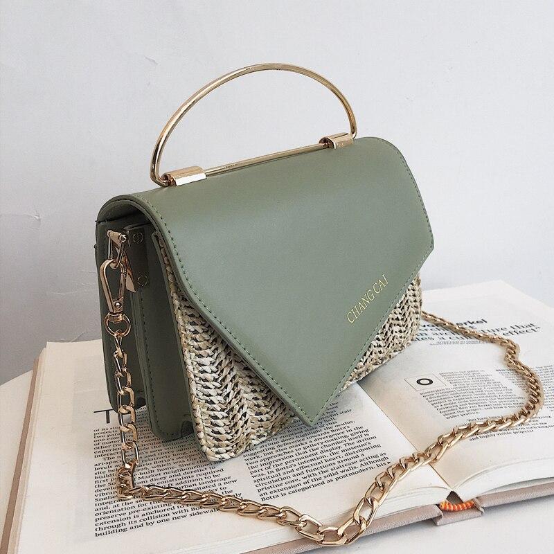 Straw Tote Bag 2019 Summer Fashion New Quality PU Leather Women's Designer Handbag Chain Shoulder Messenger Bag Bolsos Mujer