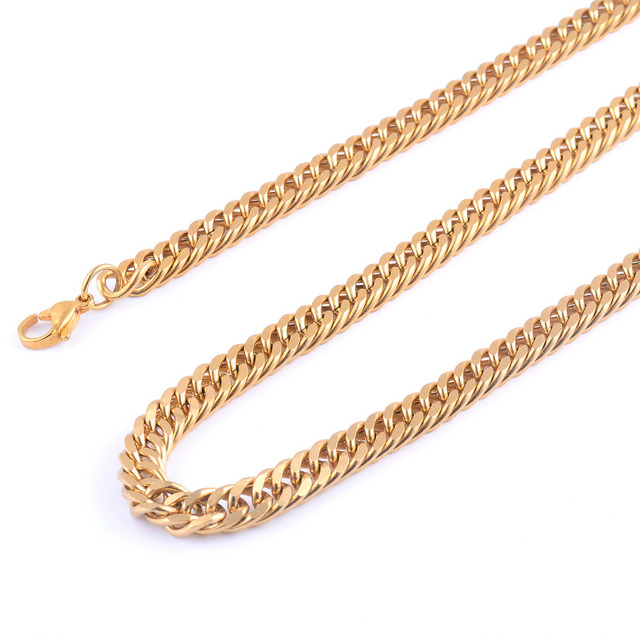 Stainless Steel Gold Necklace Chain High Quality Gold Plating Titanium Steel Cuba Chain Men Women Jewelry Gifts 1