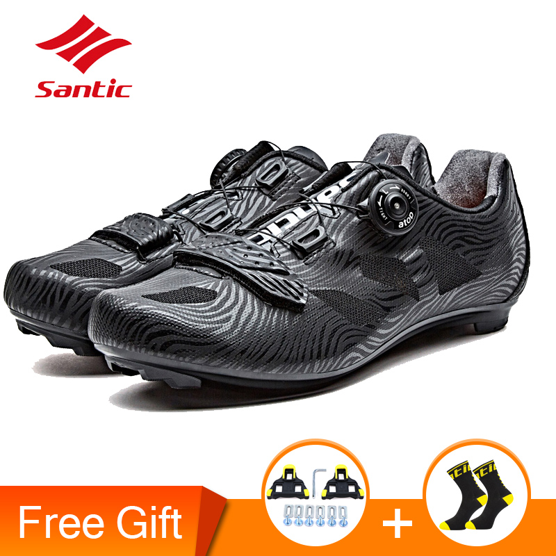 Santic 2019 nouveaux hommes chaussures de cyclisme à lacets en Nylon semelle chaussures de vélo de route baskets chaussures de course athlétique pour homme équitation noir