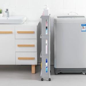 Image 2 - The Goods For Kitchen Storage Rack Fridge Side Shelf 2/3/4 Layer Removable With Wheels Bathroom Organizer Shelf Gap Holder