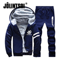 Jolintsai 2017 Plus Size XXXXL Hoodies Sweat Suits Men Warm Fleece Winter Jacket Men+Sweatpants Tracksuit Men Sweatershirts Set