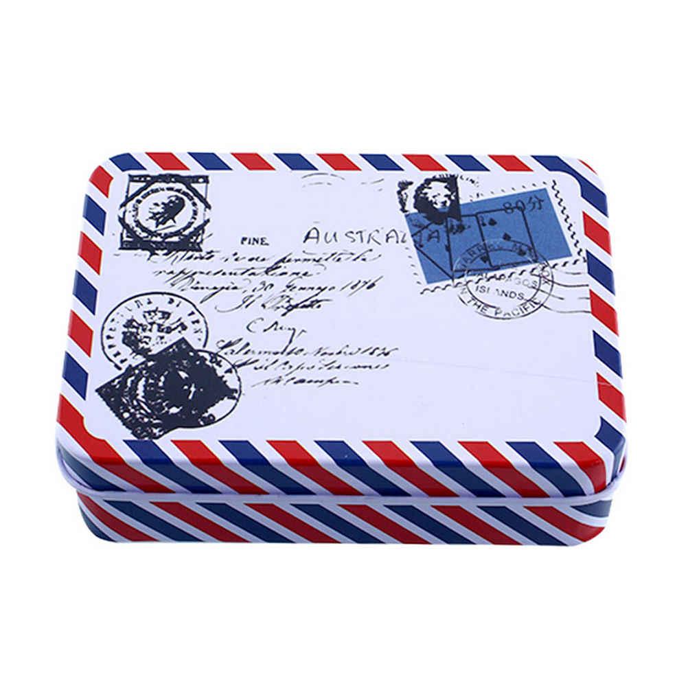 พิมพ์สาวของขวัญโต๊ะเก็บเครื่องสำอางเครื่องเขียน VINTAGE เก็บเหรียญดีบุกกระเป๋ากล่องเครื่องประดับ 9*6.5*2.