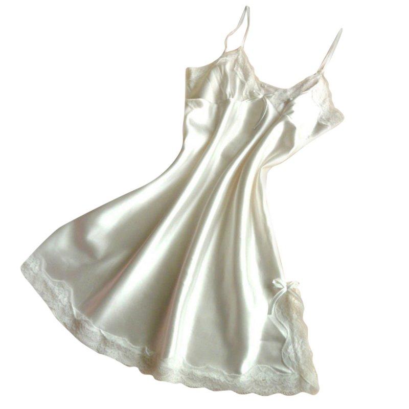 New Sexy Women Silk Lace Nightgowns V-Neck Spaghetti Straps Nightdress Sleepwear M34