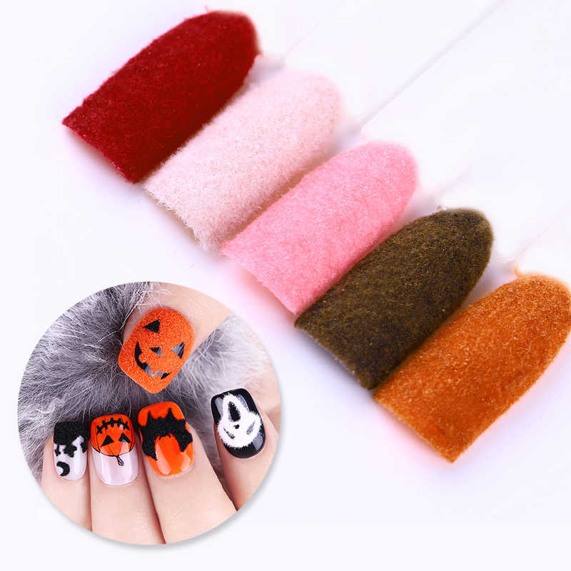1 caja 10ML difuso flocado terciopelo polvo de uñas colorido brillo polvo manicura uñas arte consejos Decoración
