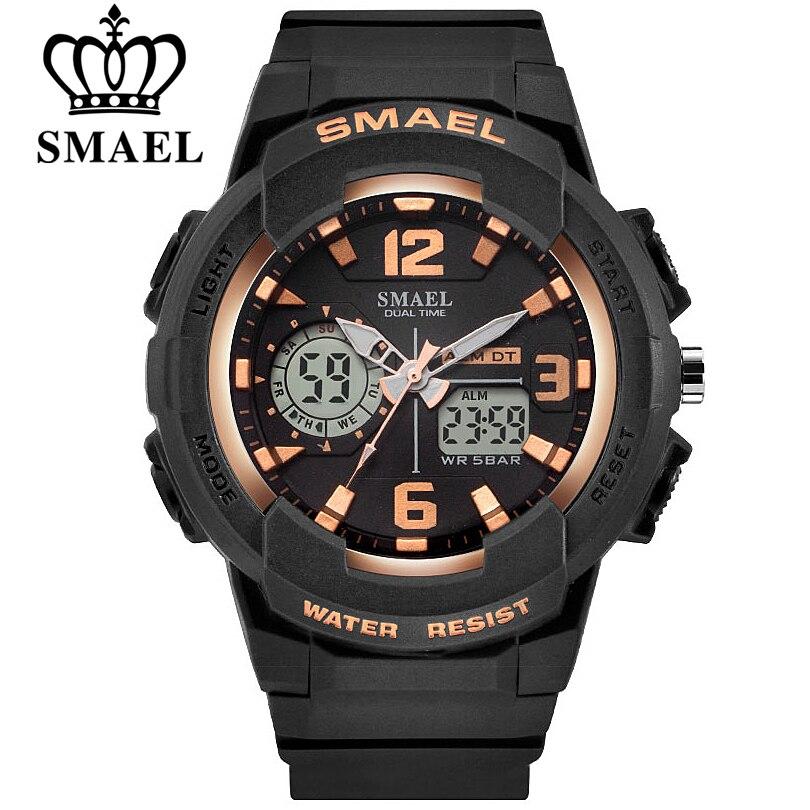 SMAEL Armée LED Militaire Double Affichage Montres Hommes D'or Numérique de Sport Montres Hommes Horloge À Quartz Montre Relogio Masculino