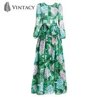 High quality New Women Runway Maxi Dress Spring Summer Autumn Flowers Green Leaves Printing Beach Casual Long Dress