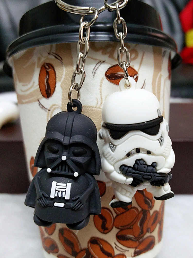 New 3D Star War Keychains Cosplay The Force Awakens Darth Vader and Storm Trooper Cartoon Key Chain Children Bag Keyring Holder