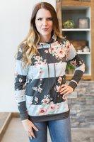 LANZOOM Vintage Hoodies Frauen Mode Retro Blume Weibliche Sweatshirt Pullover Casual Tops Schweiß Femme Hoodie Patchwork