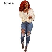 Echoine Women Tassel Sexy V-neck Short Jacket Fur Coat Winter Woman Outwear Plus Size Club Outfit Female Autumn
