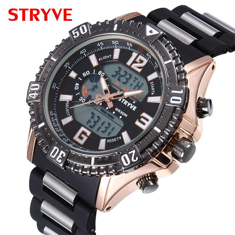 Mens Watches Top Brand Luxury Sport Quartz Digital Double Movement Dual Display Watch Men Fashion Waterproof Watch Dropshipping in Quartz Watches from Watches