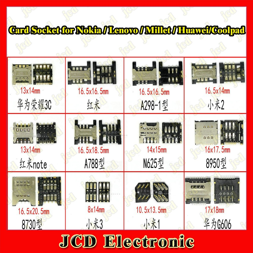 SIM Card socket Card holder for Millet M1 M2 M3 2S/Lenovo A788 A298 /Huawei Glory/Coolpad 8950 /for Nokia lumia 625 /...
