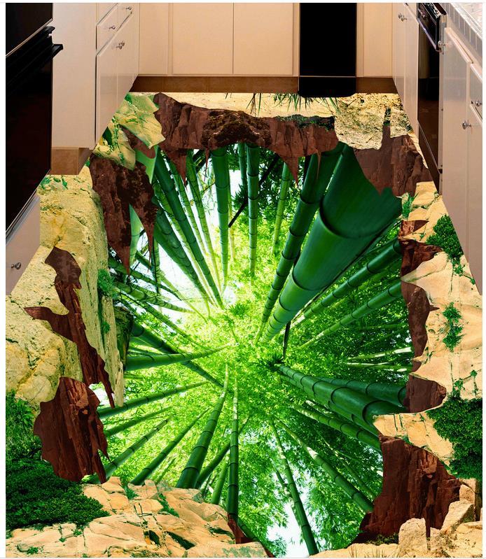3D wallpaper floor for living room bamboo Custom Photo self-adhesive 3D floor 3D wallpaper floor for living room