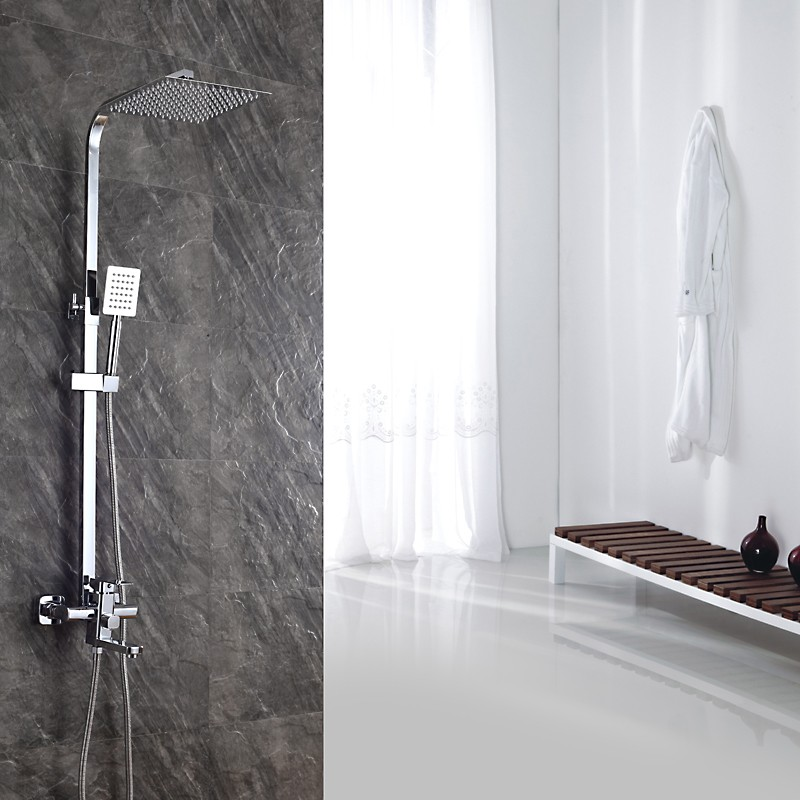 bathroom rainfall square shower system wall mounted brass shower faucet with 8 inch shower head hand sprayer for shower set AHQ2 стоимость