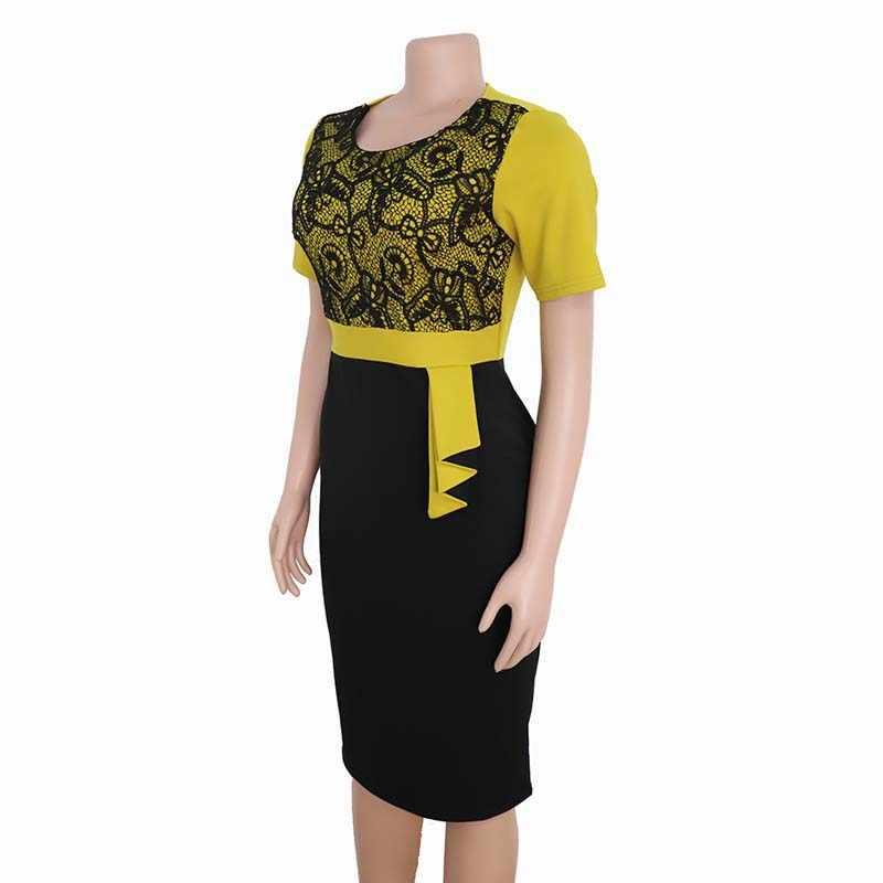 בגדים אפריקאים תחרה טלאי שתי חתיכה להגדיר נשים 2019 ליזר האלגנטי תחרה עיפרון שמלה באיכות גבוהה משרד ליידי פלוס גודל