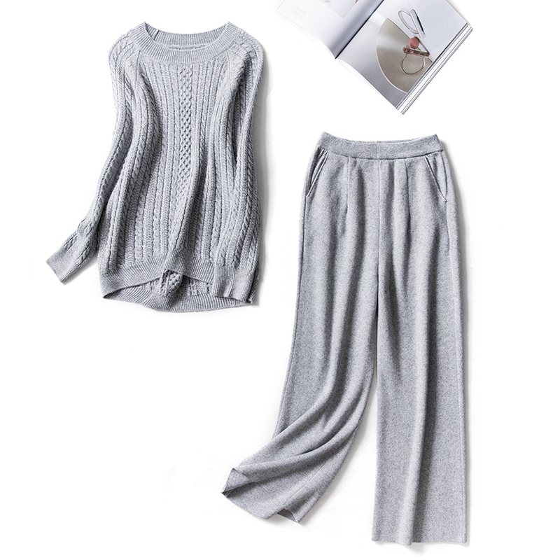 Winter Woolen and Cashmere Knitted Warm Suit O neck Sweater Cashmere Wide Leg Pants Loose Style