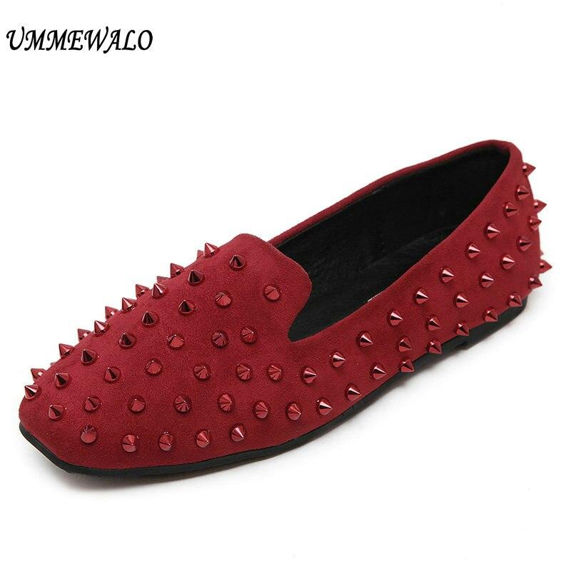 UMMEWALO Flat Shoes Women Rivets Shoes Woman Casual Square Toe Flats Loafers Ladies Studs Shoes