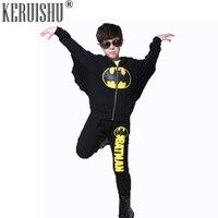 Keruishu 2 Piece Set Children Batman Suit Boys Hooded Suit Children Sport Suits Kids Autumn Tracksuit Jacket+Pant Festival Suit