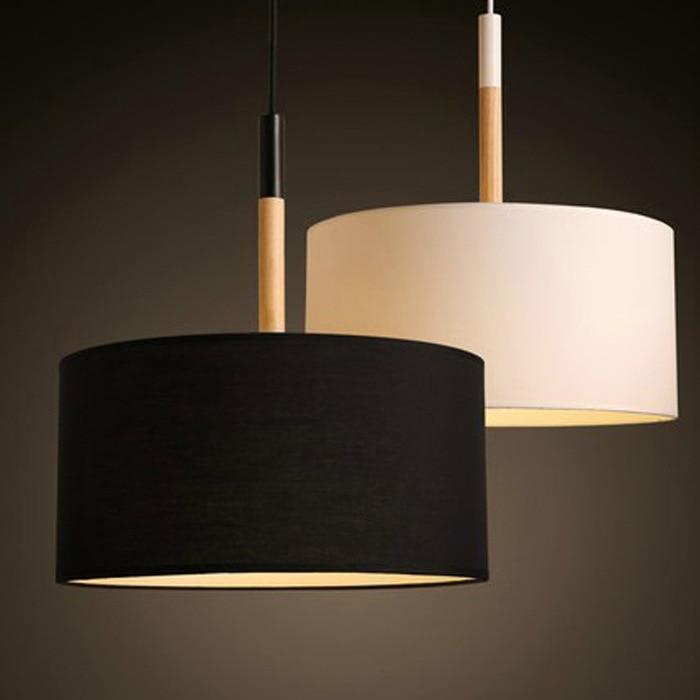 Modern Led Pendant Lights Fitting For Dining Room Black White Lampshade Wood Industrial Pendant Lamps For Kitchen Bedroom Lighti