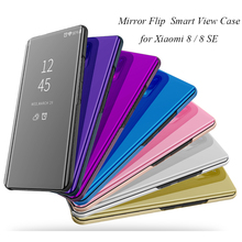 Mi8 Mirror Flip Case For Xiaomi Mi 8 SE Luxury Clear View PU Leather Cover Smart phone for