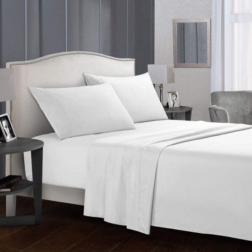 Bedding Set Soft Bed Linens Flat Sheet+Fitted Sheet ...
