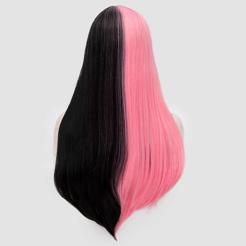 Similler Pink Black Straight High Temperature Fiber Hair Cosplay Synthetic Wigs for Women Patchwork Color Red Sliver Red Gold