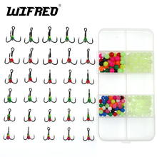 Wifreo 30+200 Box Set UV Glo Sharp Tip Treble Hook Jig for Ice Fishing Lure Spare Hooks With Plastic Fishing Bead Winter Fishing