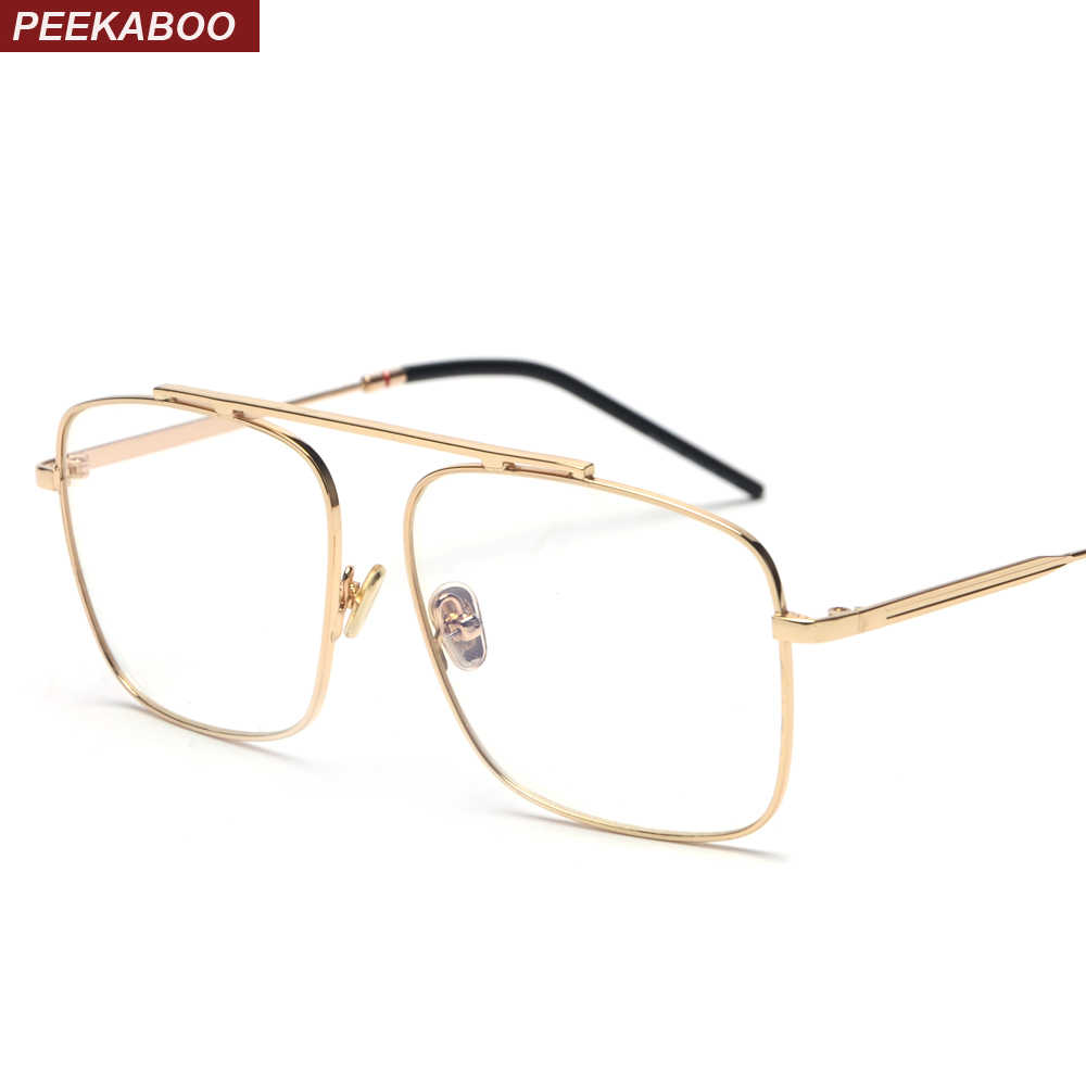 b6d9c855c53 Peekaboo square glasses frame women gold metal 2018 brand designer flat top  big eyeglasses optical frame