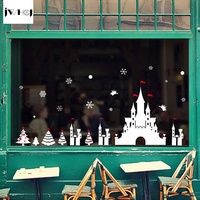 1 X 60X90 Cm Christmas White Snow Castle Wall Stickers Glass Window DIY Removable Holiday Decor