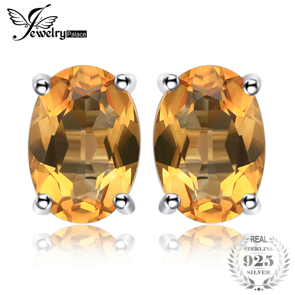 JewelryPalace Oval 1.4ct Natural Citrine Birthstone Stud Earrings Solid 925 Sterling Silver New Fine Jewelry For Women